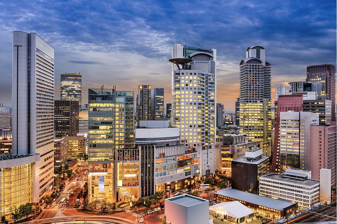 a beautiful shot of the Umeda Skyline in Osaka