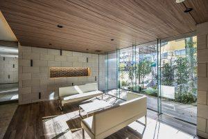 The lobby area of Opus Residence Shinsaibashi South located in Matsuyamachi, Osaka City Chuo-ku.