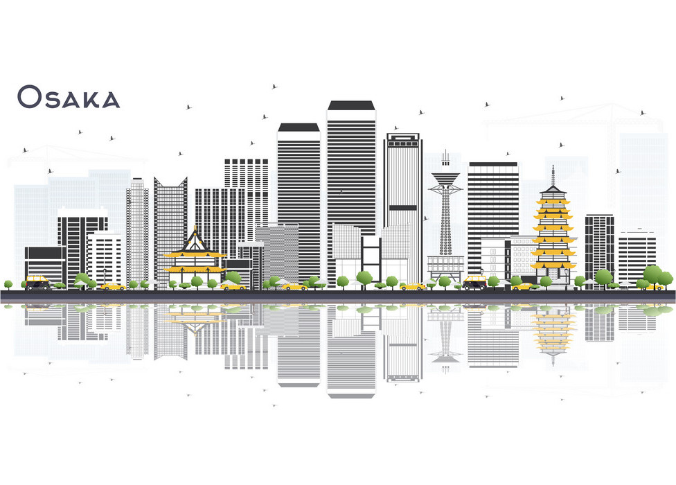 An illustration of the Osaka City skyline