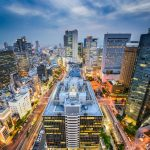 A photo of the Umeda Station south of Osaka Station